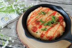 Huevo frito de la cacerola del desayuno Imagenes de archivo