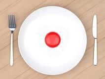 Huevo frito del corazón en la placa blanca Imagen de archivo libre de regalías