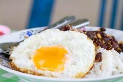 Huevo frito en el arroz Fotografía de archivo libre de regalías