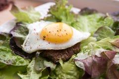 Huevo frito en las hojas de la ensalada Foto de archivo