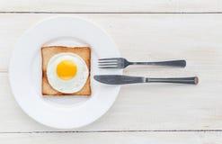 Huevo frito en tostada Fotografía de archivo