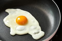 Huevo frito en una cacerola negra imagen de archivo libre de regalías