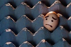 Huevo hecho frente triste en una bandeja del huevo imágenes de archivo libres de regalías
