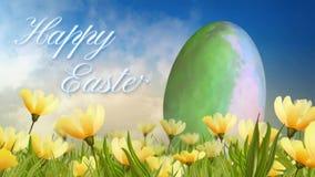 Huevo Pascua feliz de la acuarela en los lirios 4K stock de ilustración