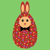 Huevo pintado rojo del conejito de pascua con el bowtie Foto de archivo