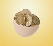 Huevo por completo con las monedas Foto de archivo libre de regalías
