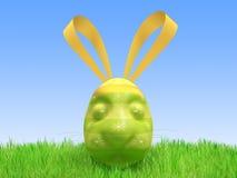 Huevo verde de Pascua - una liebre Imagenes de archivo