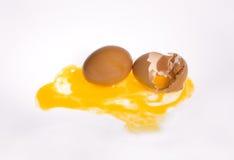 Huevo y cáscara de huevo quebrada Fotos de archivo libres de regalías