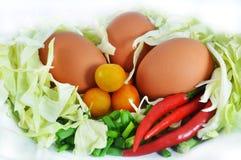 Huevo y verduras Fotografía de archivo libre de regalías