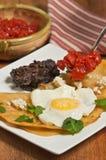 Huevos与切好的蕃茄匙子的rancheros膳食  免版税库存照片
