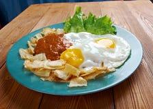 Huevos骗局chilaquiles 免版税库存图片