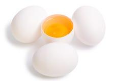 Huevos aislados en el blanco Foto de archivo