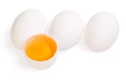 Huevos aislados en el blanco Fotografía de archivo libre de regalías