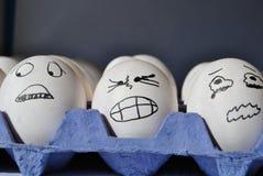 Huevos asustados imagenes de archivo