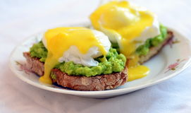Huevos Benedictos. A variation of the classic eggs benedict on avocado and scallion mash royalty free stock image