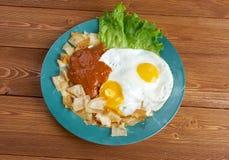 Huevos-Betrug chilaquiles Lizenzfreie Stockbilder