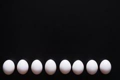 Huevos blancos aislados en fondo negro Fotografía de archivo