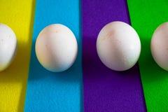 Huevos blancos en fondo colorido fotos de archivo libres de regalías