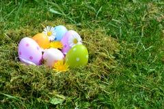 Huevos coloreados Fotos de archivo libres de regalías