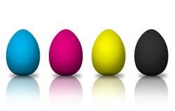 Huevos coloreados CMYK Imagen de archivo libre de regalías