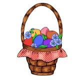 Huevos coloridos, brench del sauce, hierba verde en la cesta de mimbre aislada en blanco stock de ilustración