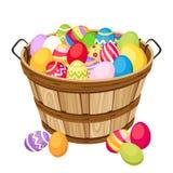 Huevos coloridos de Pascua en cesta de madera. Illu del vector Imagen de archivo