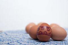 Huevos coloridos en la toalla blanca azul fotografía de archivo libre de regalías