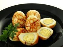 Huevos con el modelo Imagen de archivo libre de regalías