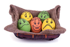 Huevos con la cara de la historieta Foto de archivo libre de regalías