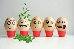 Huevos con la cara pintada Concepto Imágenes de archivo libres de regalías