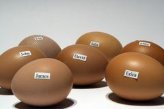 Huevos con nombres fotografía de archivo libre de regalías