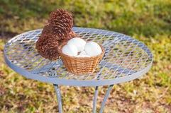 Huevos, conos del pino en la tabla Imágenes de archivo libres de regalías