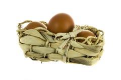 Huevos de Brown en bandeja de mimbre Imagen de archivo libre de regalías