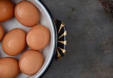Huevos de Brown en el pote de agua Imagenes de archivo