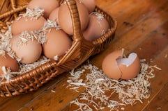 Huevos de Brown en pequeña todavía de la cesta vida Fotos de archivo libres de regalías