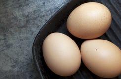 Huevos de Brown en sartén Fotografía de archivo