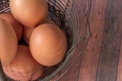 Huevos de Brown en una cesta del metal del vintage Fotos de archivo libres de regalías