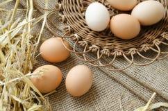 Huevos de Brown en una placa y una harpillera de mimbre Foto de archivo libre de regalías