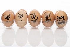 Huevos de Brown sobre el fondo blanco Imágenes de archivo libres de regalías