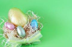 Huevos de chocolate de Pascua Fotos de archivo
