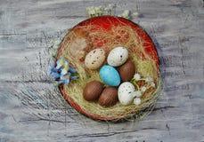 Huevos de chocolate de Pascua y codornices blancas Imágenes de archivo libres de regalías