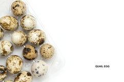 Huevos de codornices en el fondo blanco, con el espacio para el texto Imágenes de archivo libres de regalías