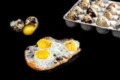 Huevos de codornices en los huevos del paquete, crudos y quebrados aislados en fondo negro Imágenes de archivo libres de regalías