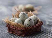 Huevos de codornices en una cesta de mimbre en un fondo de madera gris fotografía de archivo libre de regalías