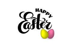 huevos de 3D Pascua con el texto exhausto Pascua feliz de la mano para la tarjeta de felicitación, cartel del día de fiesta, band libre illustration