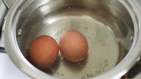 Huevos de ebullición de la opinión del primer en agua almacen de video
