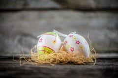 Huevos de la decoración de Pascua Fotos de archivo libres de regalías