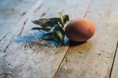 Huevos de la granja de Pascua en la tabla de madera rústica Opinión de ángulo Fotos de archivo libres de regalías
