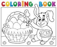 Huevos de la pintura del conejito del libro de colorear stock de ilustración