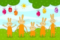 Huevos de los conejos y de Pascua Imagen de archivo libre de regalías